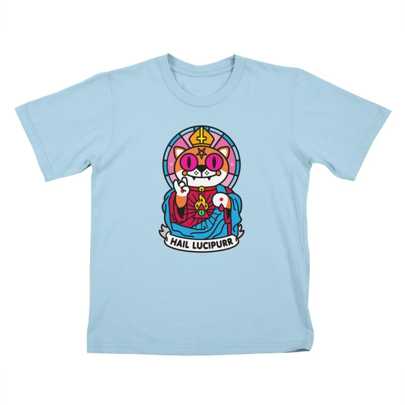 Hail Lucipurr Kids T-Shirt by SuperHappyMagic