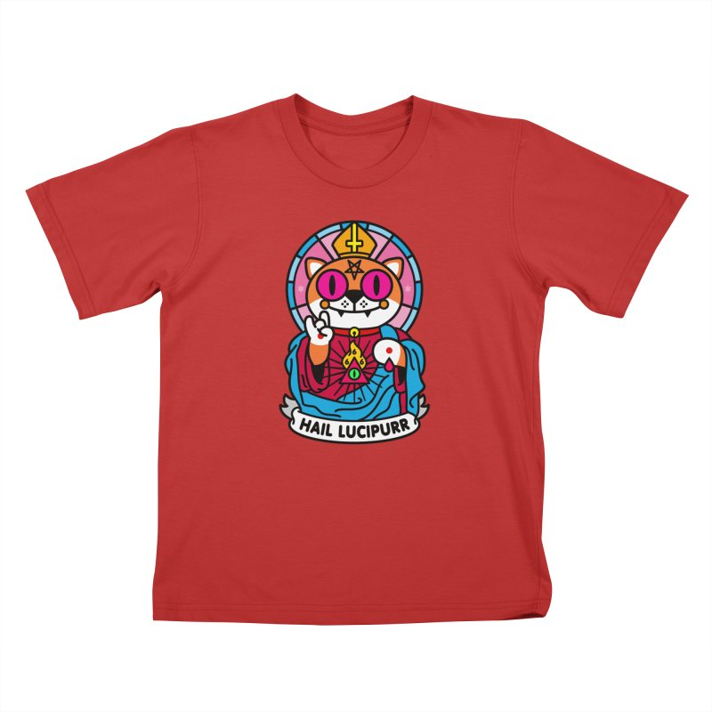 Hail Lucipurr Kids T-Shirt by SuperHappyMagic