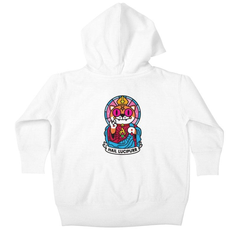 Hail Lucipurr Kids Baby Zip-Up Hoody by SuperHappyMagic
