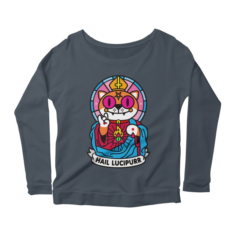 Hail Lucipurr Women's Longsleeve Scoopneck  by SuperHappyMagic