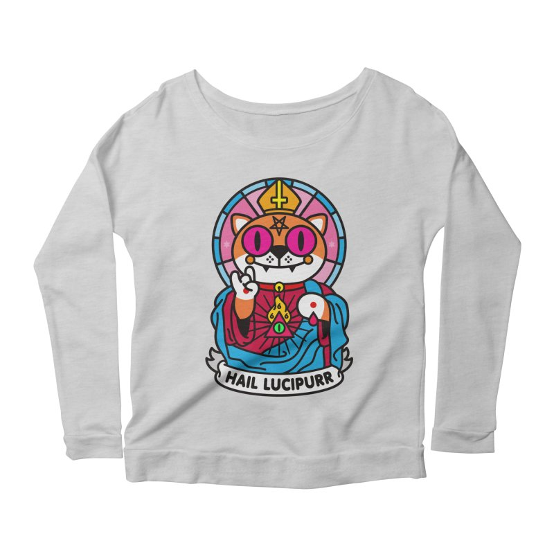 Hail Lucipurr Women's Scoop Neck Longsleeve T-Shirt by SuperHappyMagic