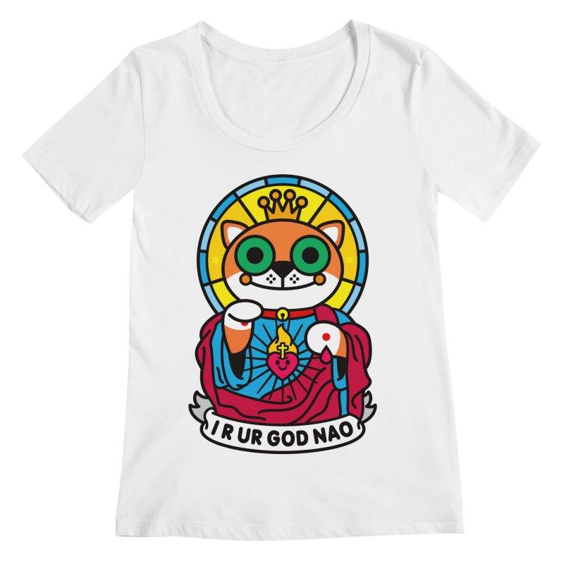 Jeezus Cat Women's Regular Scoop Neck by StudioDelme