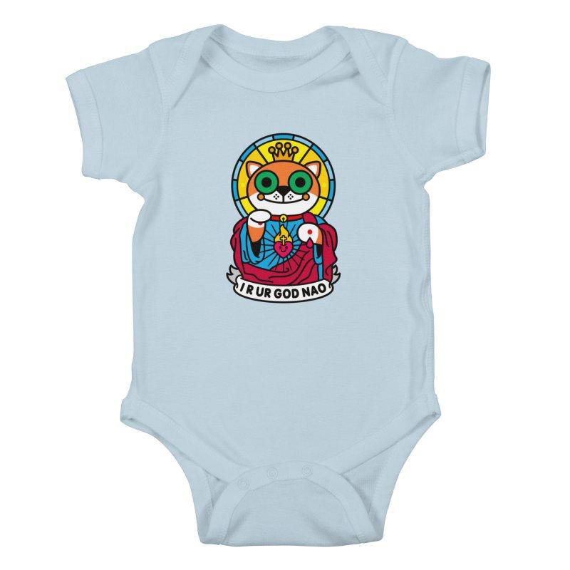 Jeezus Cat Kids Baby Bodysuit by StudioDelme