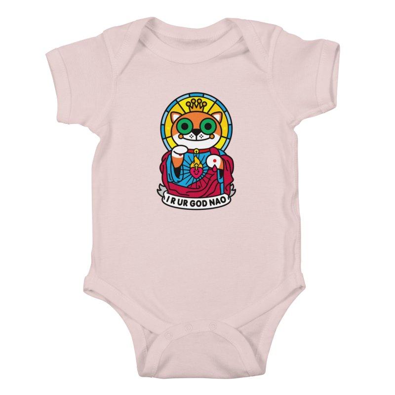 Jeezus Cat Kids Baby Bodysuit by SuperHappyMagic