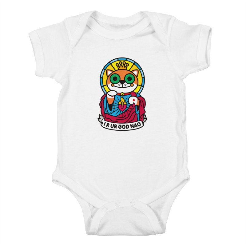 Jeezus Cat Kids Baby Bodysuit by SuperHappyMagic