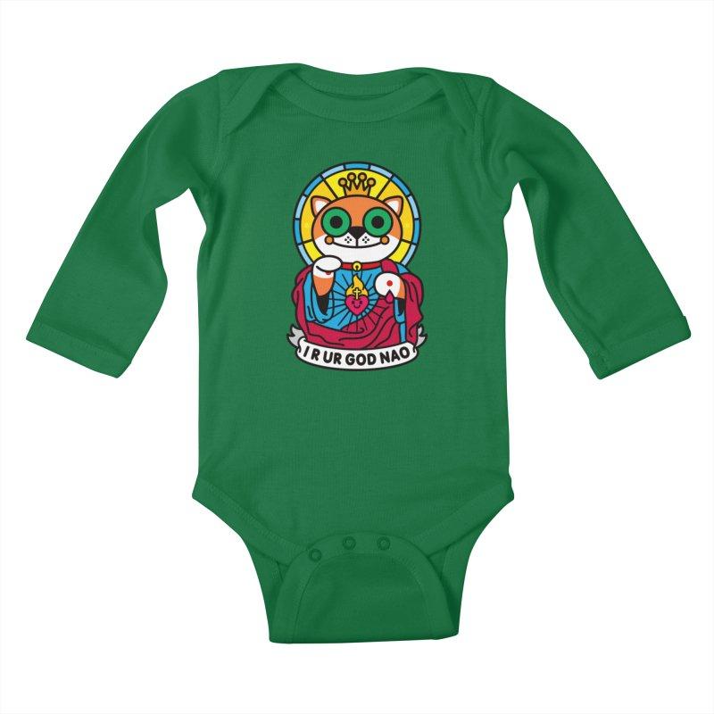 Jeezus Cat Kids Baby Longsleeve Bodysuit by SuperHappyMagic