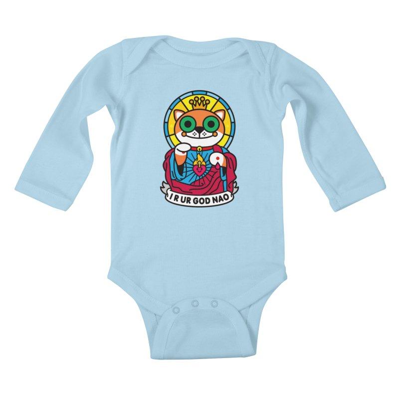 Jeezus Cat Kids Baby Longsleeve Bodysuit by StudioDelme