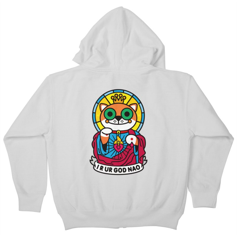 Jeezus Cat Kids Zip-Up Hoody by SuperHappyMagic