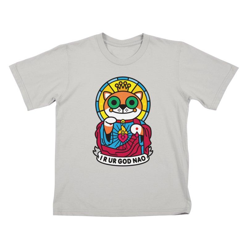 Jeezus Cat Kids T-Shirt by SuperHappyMagic