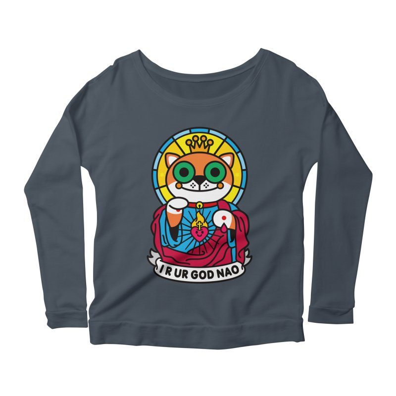 Jeezus Cat Women's Longsleeve Scoopneck  by SuperHappyMagic