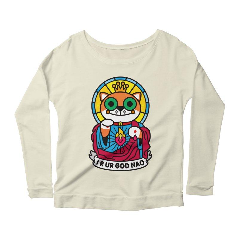Jeezus Cat Women's Scoop Neck Longsleeve T-Shirt by SuperHappyMagic