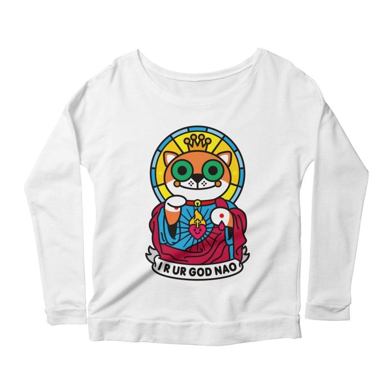 Jeezus Cat Women's Scoop Neck Longsleeve T-Shirt by StudioDelme