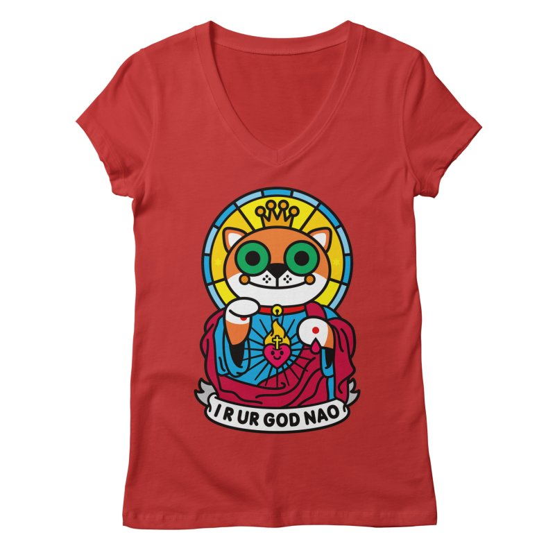 Jeezus Cat Women's Regular V-Neck by SuperHappyMagic