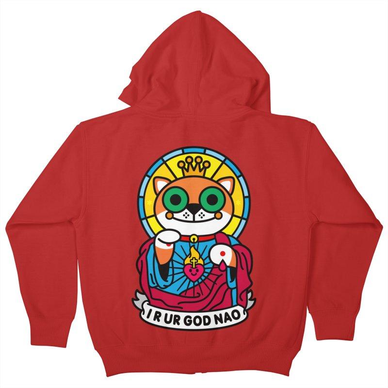 Jeezus Cat Kids Zip-Up Hoody by SuperHappyMagic