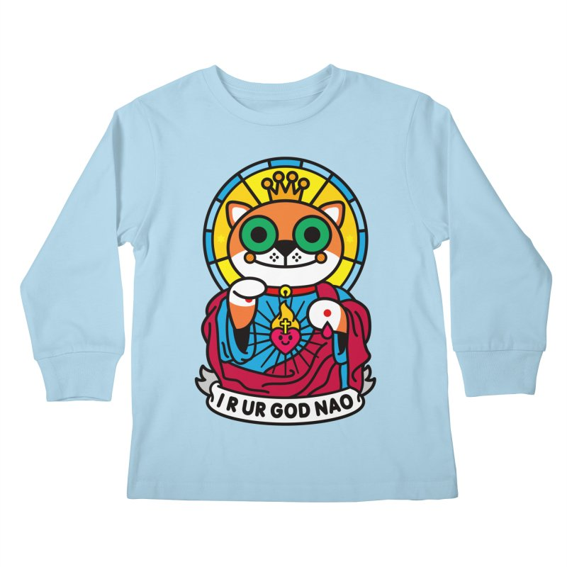 Jeezus Cat Kids Longsleeve T-Shirt by StudioDelme