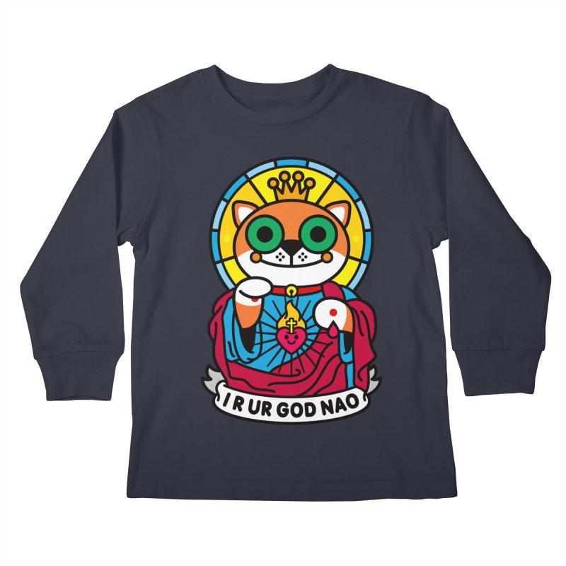 Jeezus Cat Kids Longsleeve T-Shirt by SuperHappyMagic