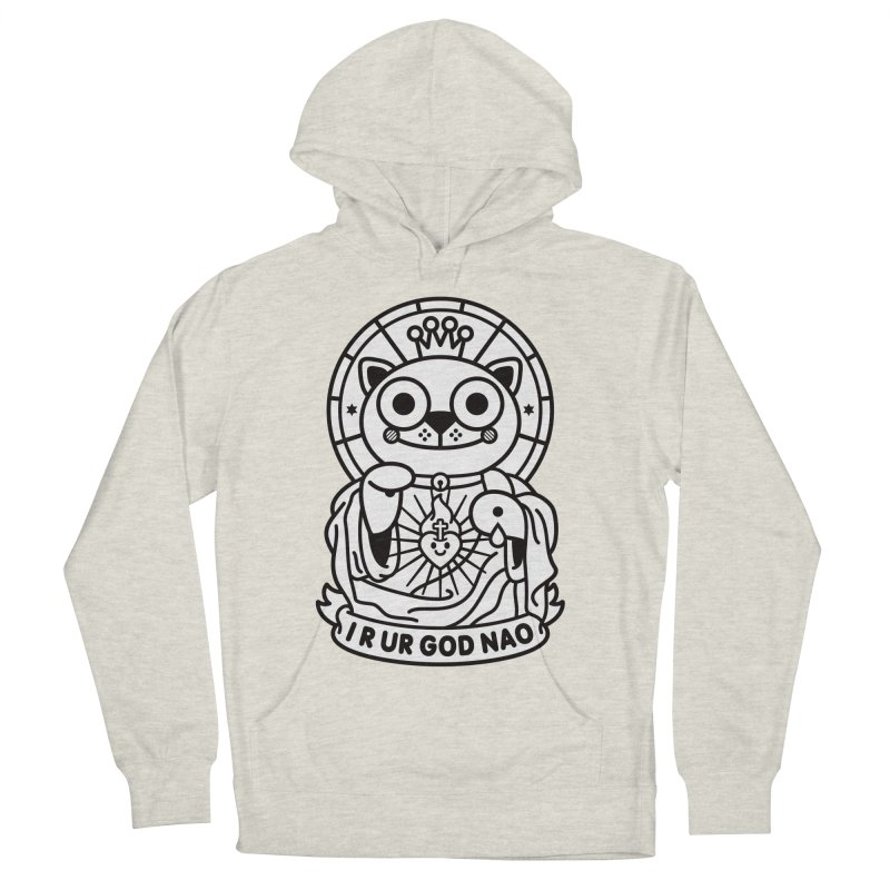 Jeezus Cat B/W Men's French Terry Pullover Hoody by SuperHappyMagic