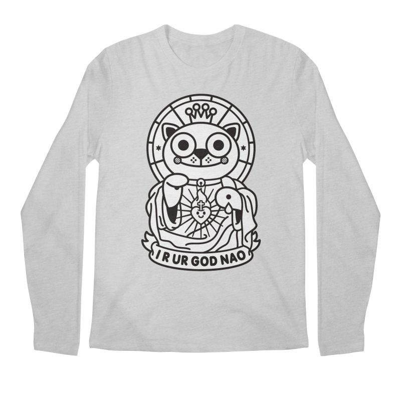 Jeezus Cat B/W Men's Longsleeve T-Shirt by SuperHappyMagic