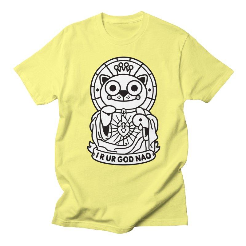 Jeezus Cat B/W Men's Regular T-Shirt by SuperHappyMagic