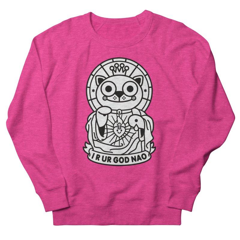 Jeezus Cat B/W Women's French Terry Sweatshirt by SuperHappyMagic