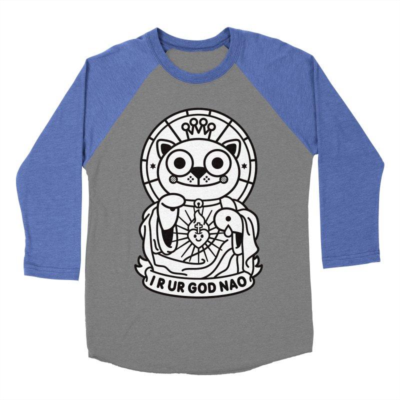 Jeezus Cat B/W Men's Baseball Triblend Longsleeve T-Shirt by SuperHappyMagic