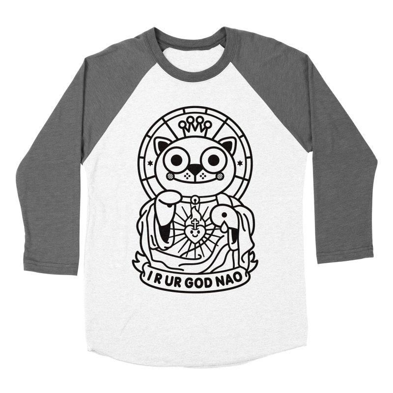 Jeezus Cat B/W Men's Baseball Triblend T-Shirt by SuperHappyMagic