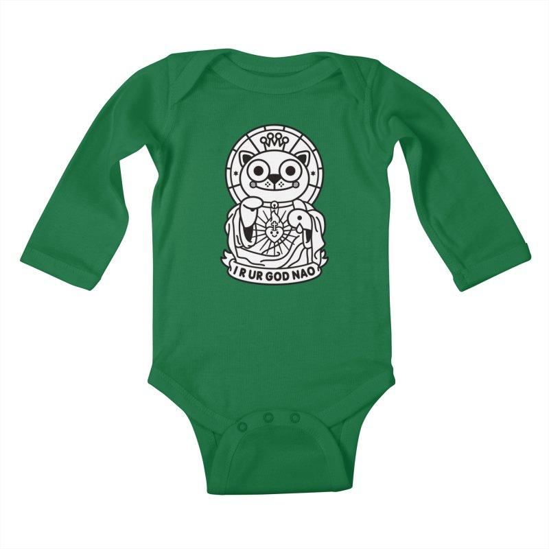 Jeezus Cat B/W Kids Baby Longsleeve Bodysuit by StudioDelme