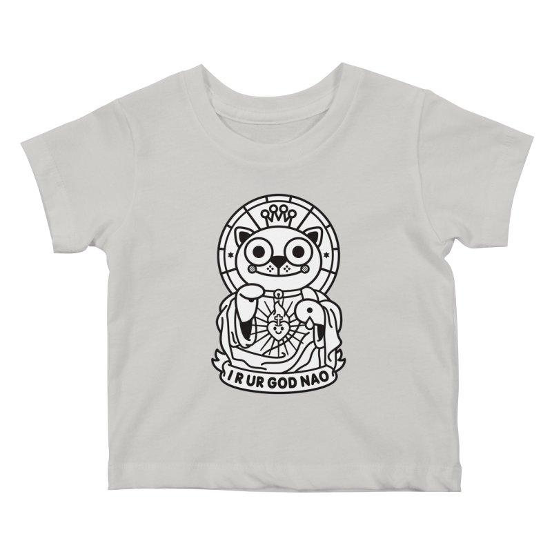 Jeezus Cat B/W Kids Baby T-Shirt by SuperHappyMagic