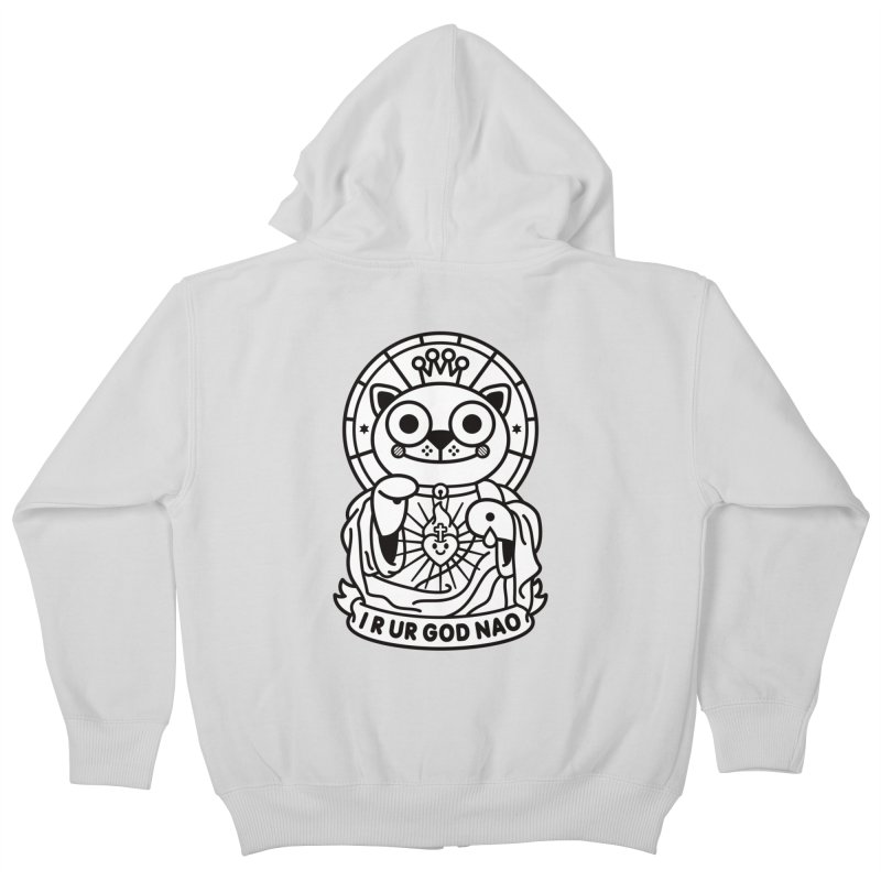 Jeezus Cat B/W Kids Zip-Up Hoody by SuperHappyMagic