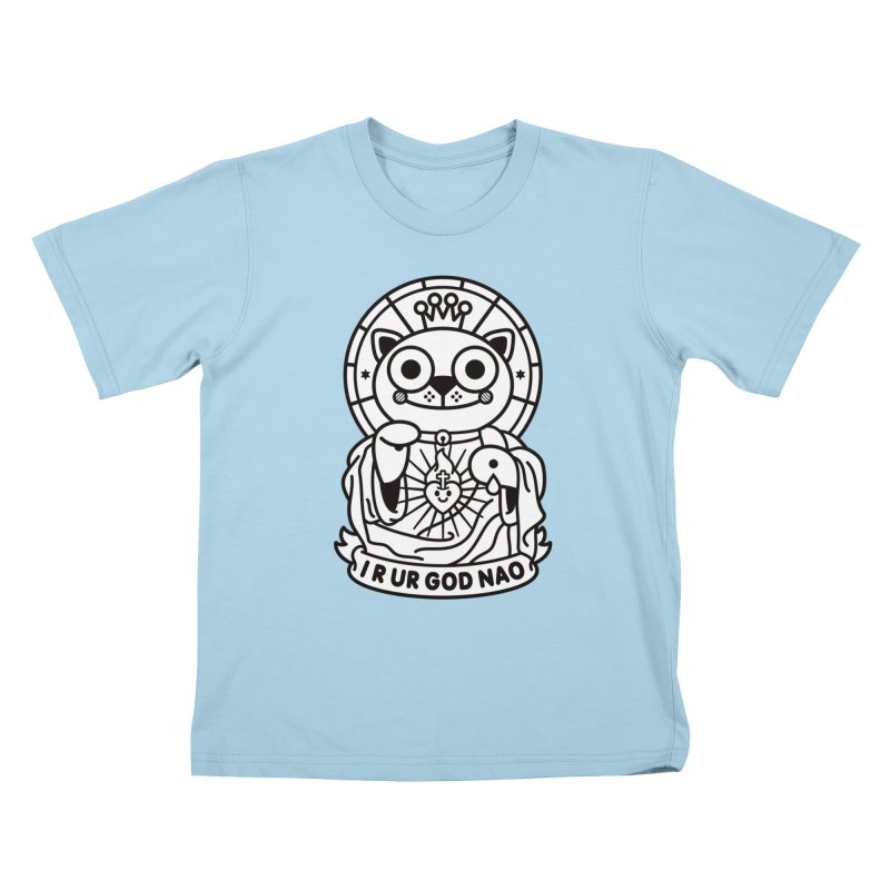 Jeezus Cat B/W Kids T-Shirt by SuperHappyMagic