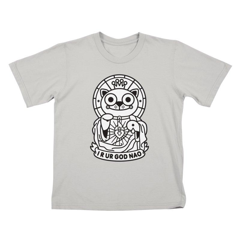 Jeezus Cat B/W Kids T-shirt by SuperHappyMagic