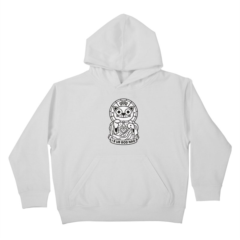 Jeezus Cat B/W Kids Pullover Hoody by SuperHappyMagic