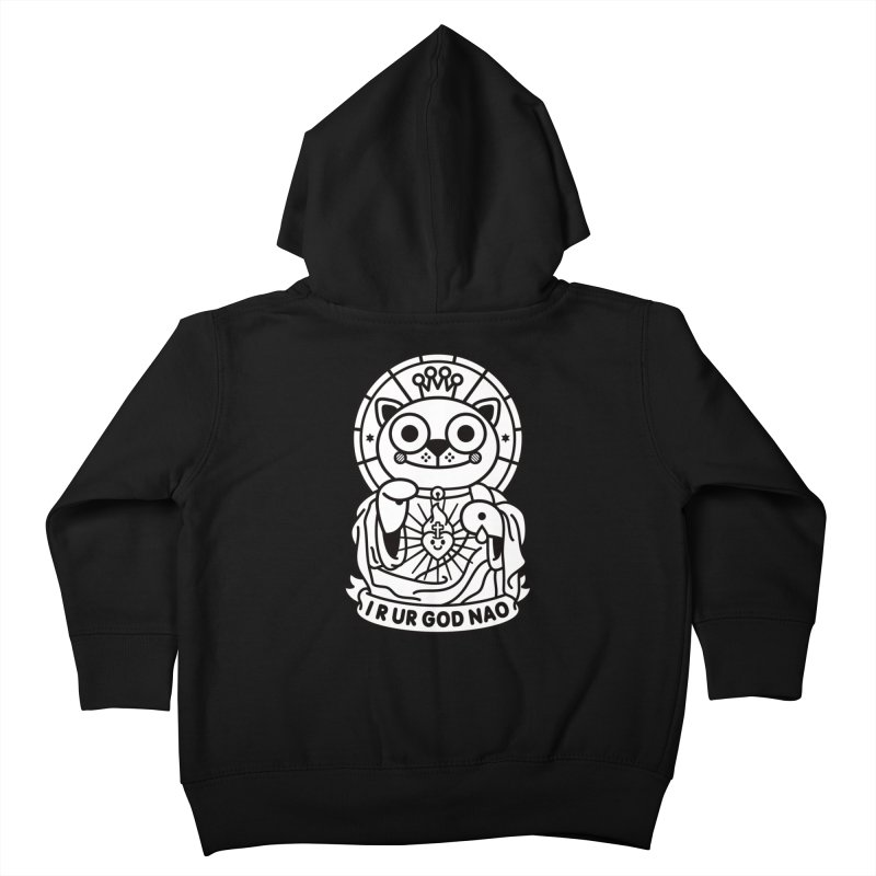 Jeezus Cat B/W Kids Toddler Zip-Up Hoody by SuperHappyMagic