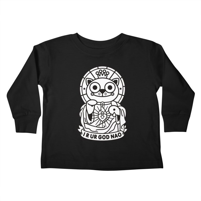 Jeezus Cat B/W Kids Toddler Longsleeve T-Shirt by SuperHappyMagic
