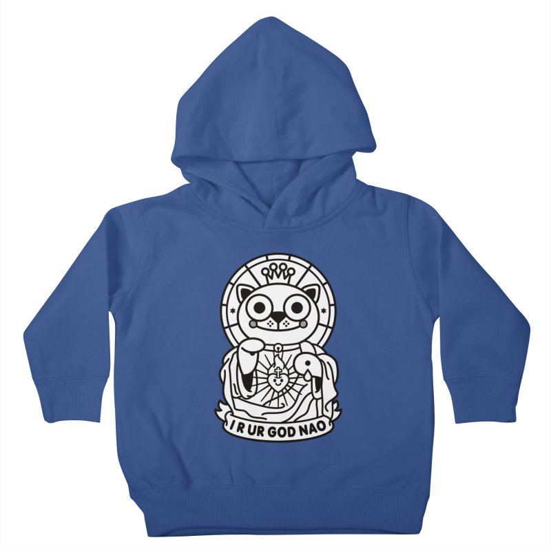 Jeezus Cat B/W Kids Toddler Pullover Hoody by SuperHappyMagic