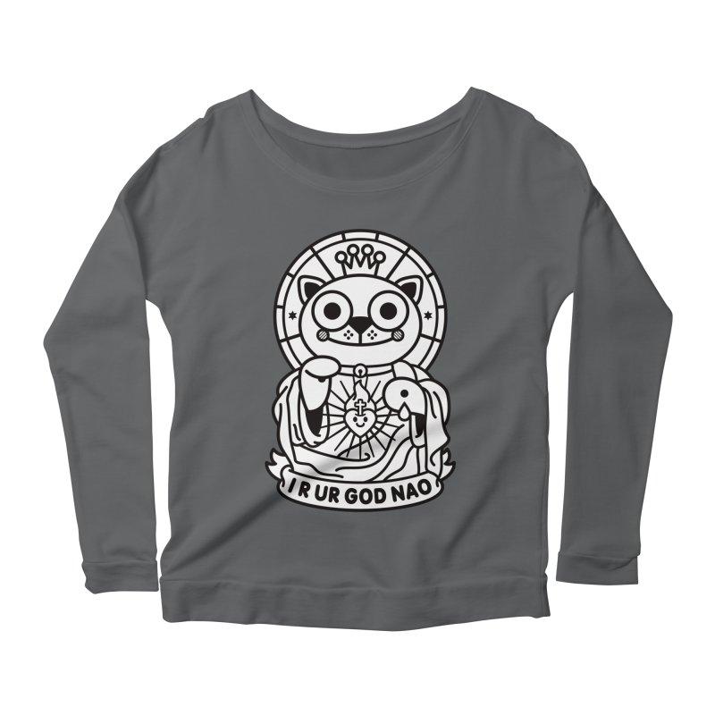 Jeezus Cat B/W Women's Scoop Neck Longsleeve T-Shirt by StudioDelme