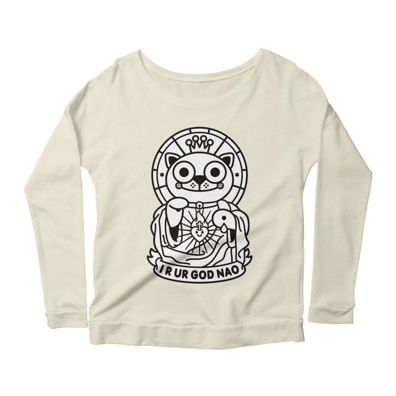 Jeezus Cat B/W Women's Scoop Neck Longsleeve T-Shirt by SuperHappyMagic