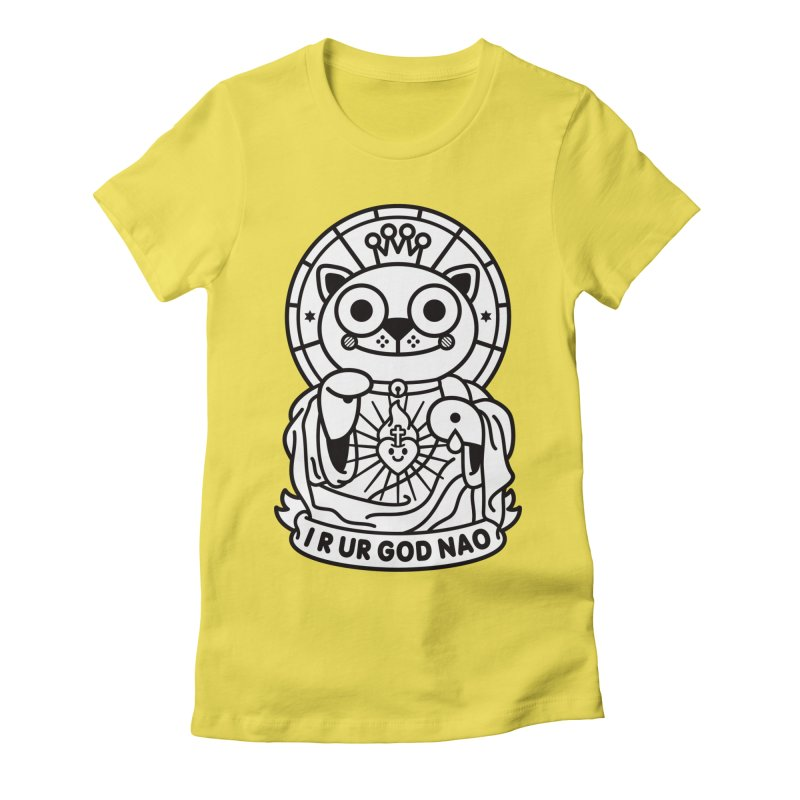 Jeezus Cat B/W Women's Fitted T-Shirt by StudioDelme