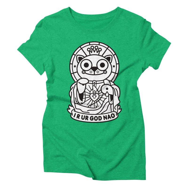 Jeezus Cat B/W Women's Triblend T-Shirt by SuperHappyMagic