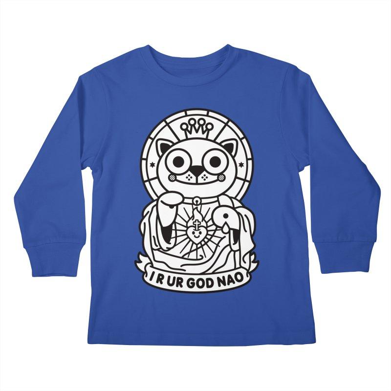 Jeezus Cat B/W Kids Longsleeve T-Shirt by StudioDelme