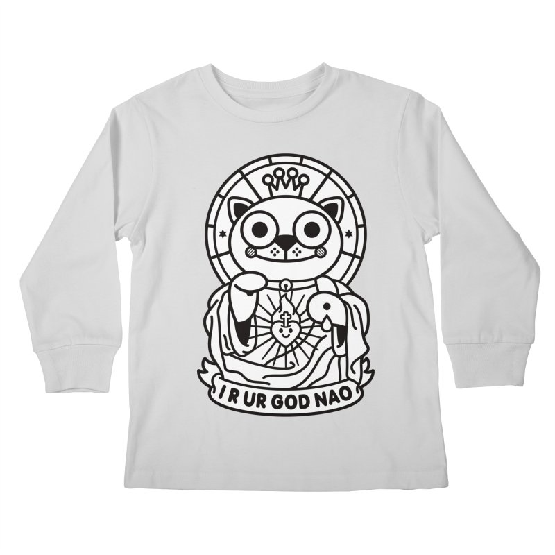 Jeezus Cat B/W Kids Longsleeve T-Shirt by SuperHappyMagic
