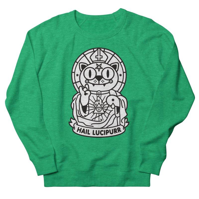 Hail Lucipurr B/W Women's French Terry Sweatshirt by SuperHappyMagic
