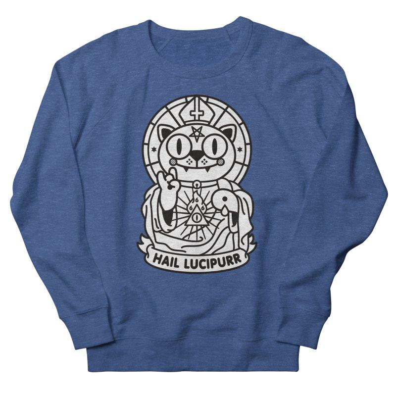 Hail Lucipurr B/W Men's French Terry Sweatshirt by SuperHappyMagic