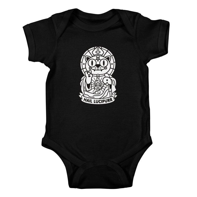 Hail Lucipurr B/W Kids Baby Bodysuit by StudioDelme