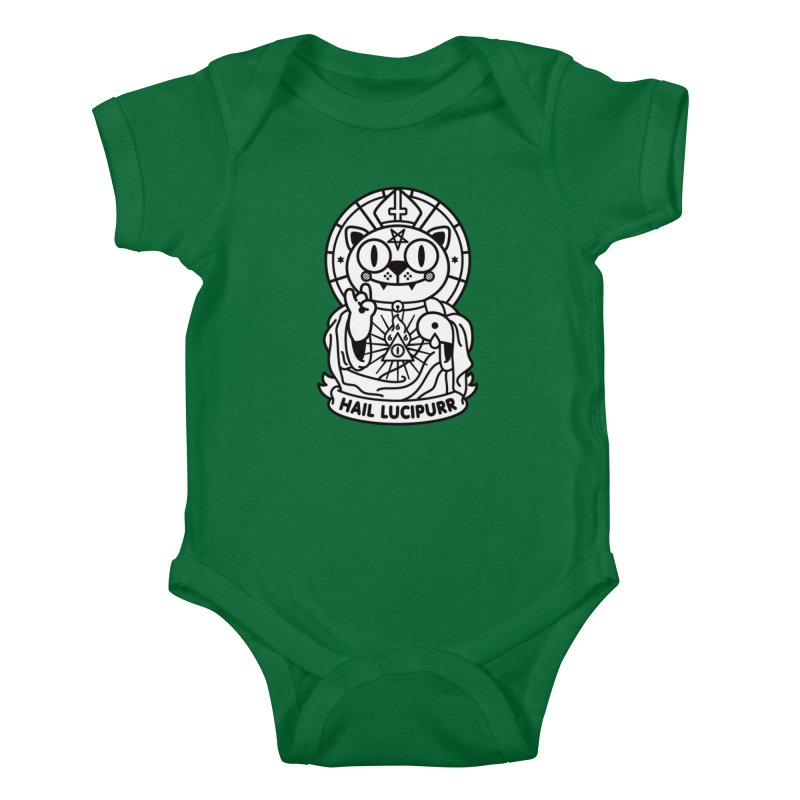 Hail Lucipurr B/W Kids Baby Bodysuit by SuperHappyMagic