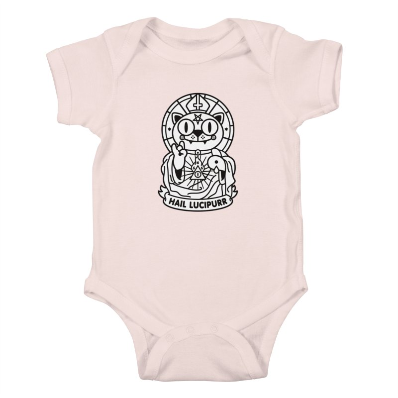 Hail Lucipurr B/W Kids Baby Bodysuit by SuperHappyMagic