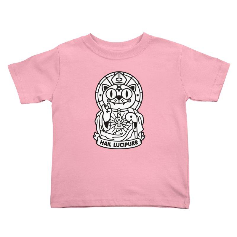 Hail Lucipurr B/W Kids Toddler T-Shirt by StudioDelme