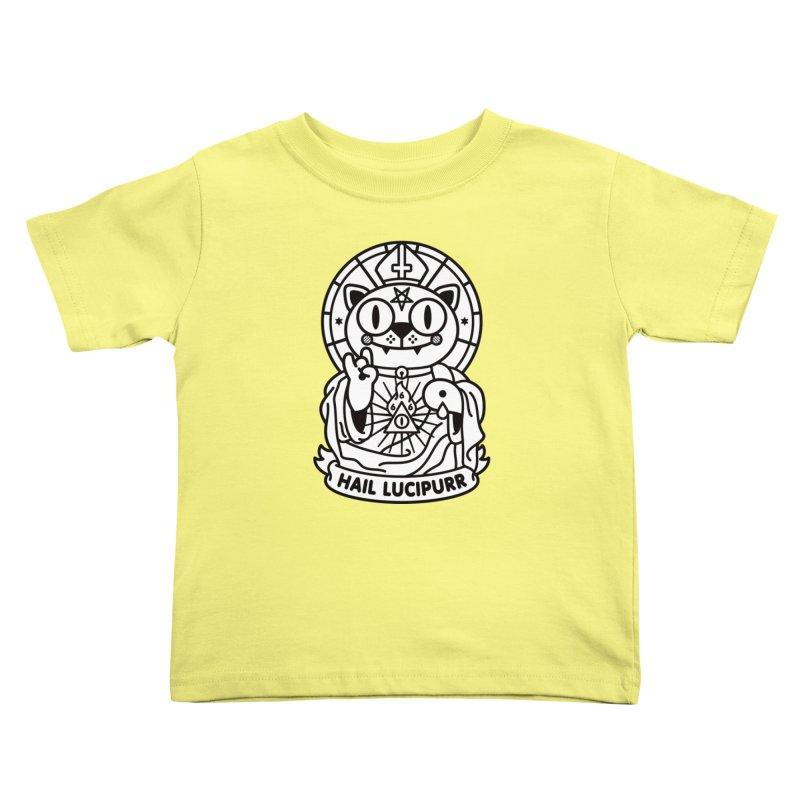 Hail Lucipurr B/W Kids Toddler T-Shirt by SuperHappyMagic