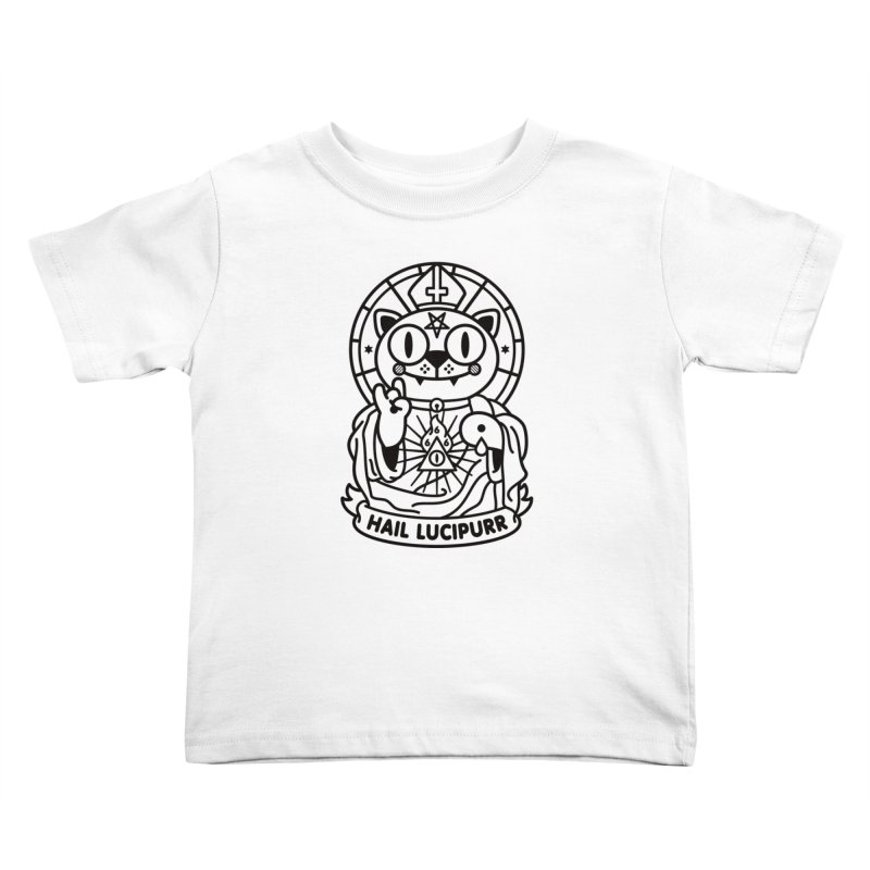 Hail Lucipurr B/W Kids Toddler T-Shirt by SuperHappyMagic
