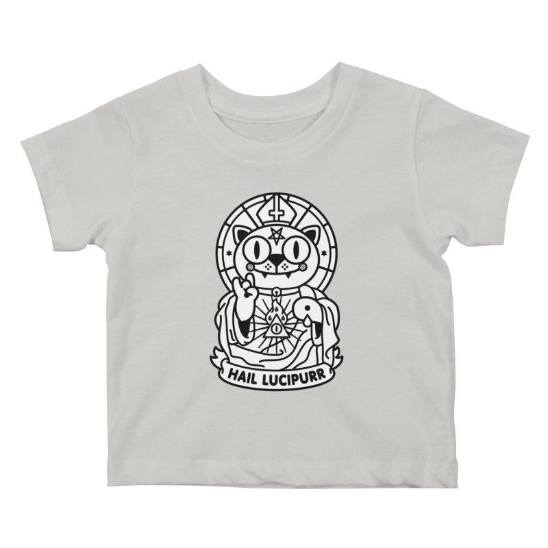 Hail Lucipurr B/W Kids Baby T-Shirt by SuperHappyMagic